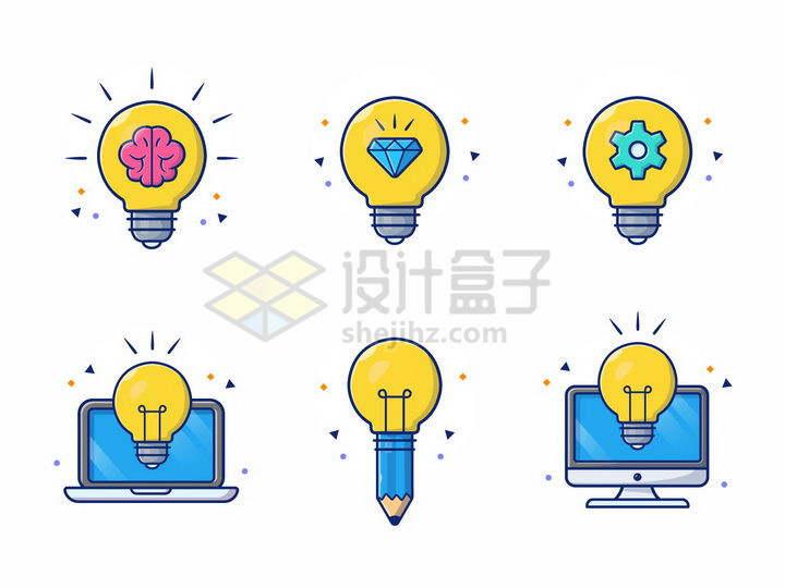 6款MBE风格黄色电灯泡png图片免抠矢量素材