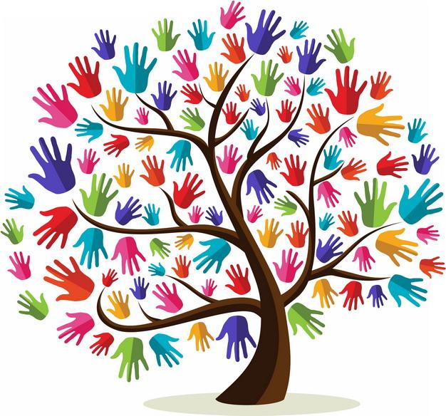 大树上长出彩色手掌印png图片素材 生物自然-第1张