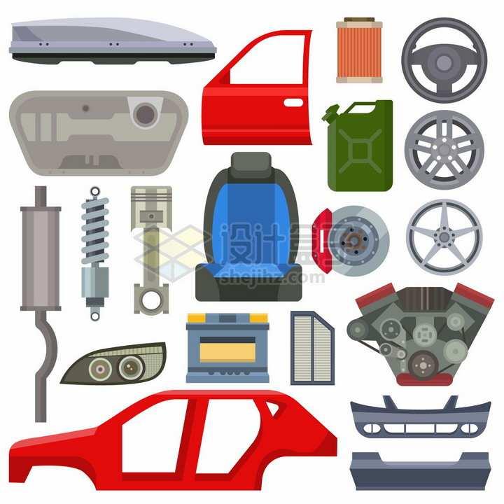 汽车门方向盘轮毂座椅汽油桶悬挂系统等汽车零件png图片素材