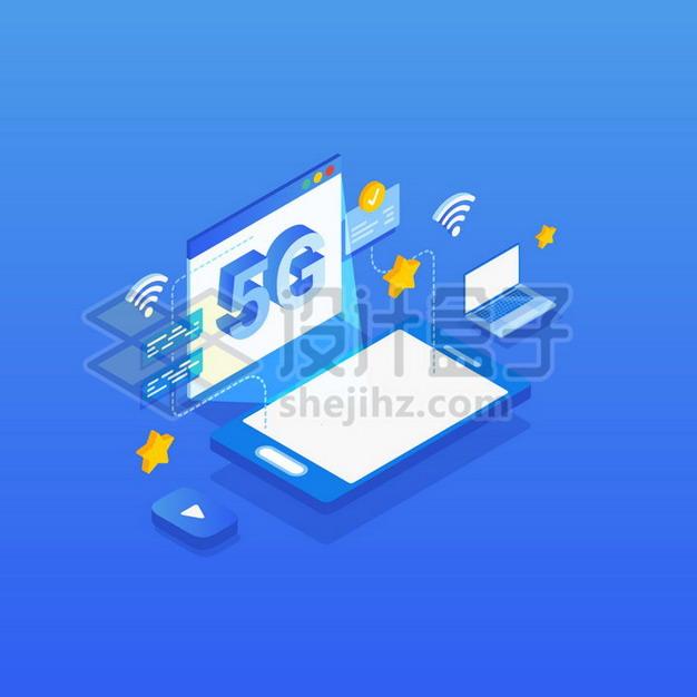 2.5D风格采用5G通信技术的手机和笔记本电脑png图片素材 IT科技-第1张