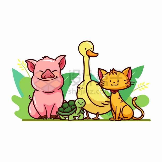 卡通小猪乌龟鸭子和小花猫png图片素材