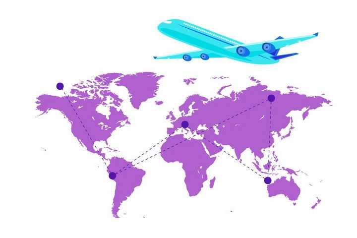 紫色世界地图和蓝色的飞机世界旅行png图片免抠矢量素材