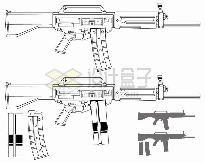 黑色线条自动步枪使用两种弹匣png图片免抠矢量素材