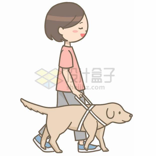 卡通盲人女孩牵着导盲犬png图片素材