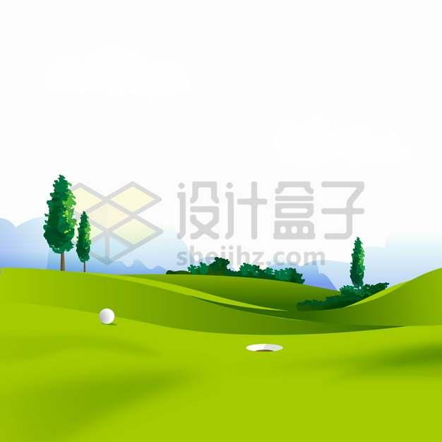 高尔夫球场绿色的草坪体育场所png图片素材