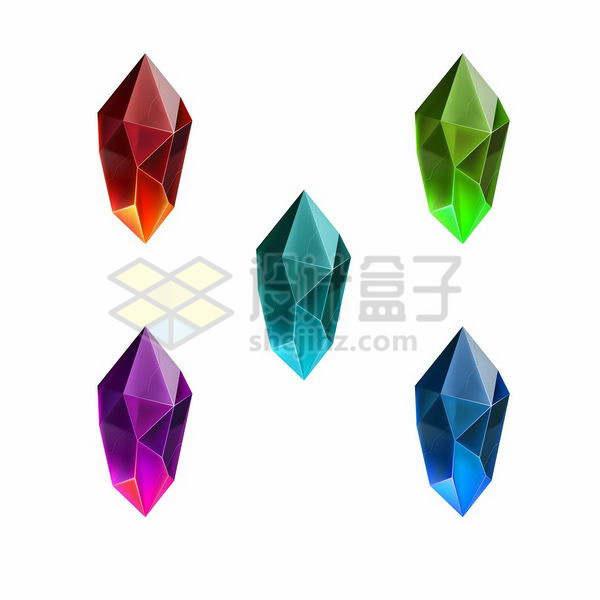 5种颜色的闪亮多边形钻石宝石png图片免抠矢量素材