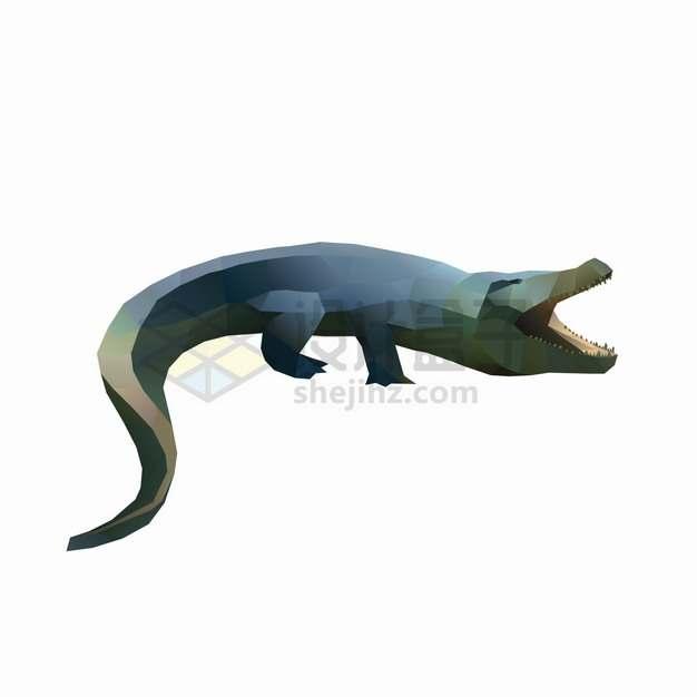 低面建模LOW-POLY风格鳄鱼png图片素材