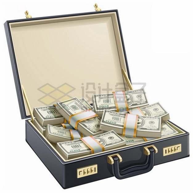打开的钱箱子中装满了美元钞票纸币png图片素材