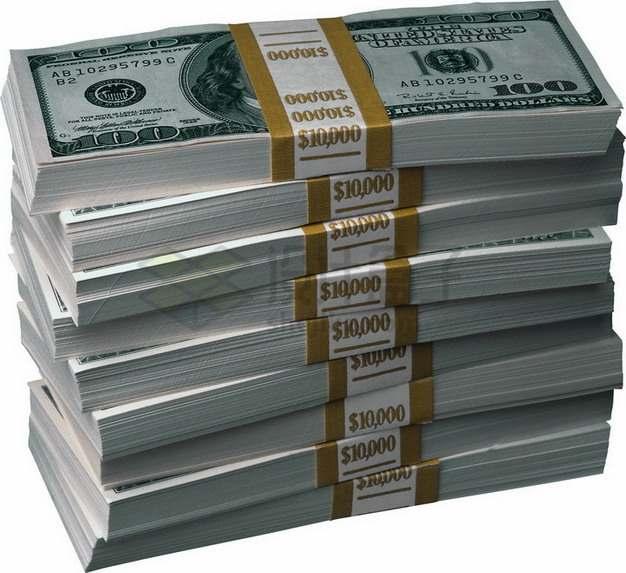 9沓100美元钞票纸币共计9万美元png图片素材