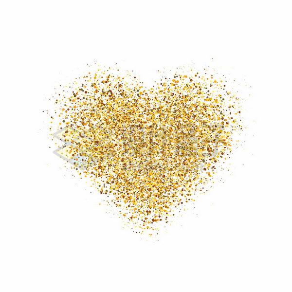 金色圆点组成的心形图案情人节png图片免抠矢量素材 装饰素材-第1张