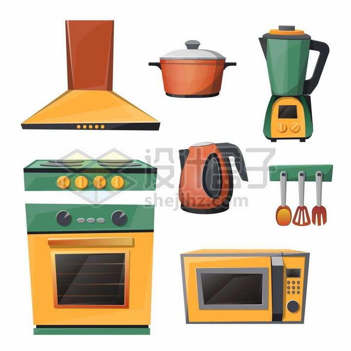 卡通抽油烟机炖锅咖啡机烤箱电水壶微波炉等厨房用品png图片素材
