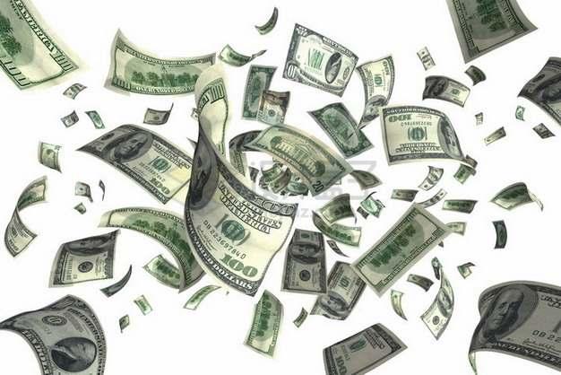 撒在半空的美元钞票纸币png图片素材