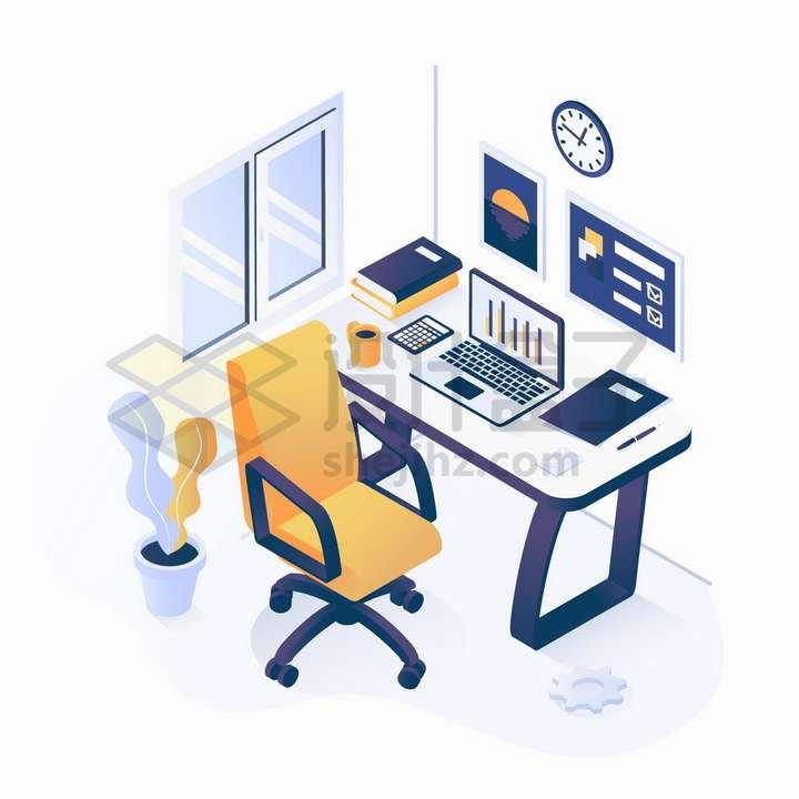 2.5D风格程序员的办公桌和转椅办公室设施png图片免抠矢量素材