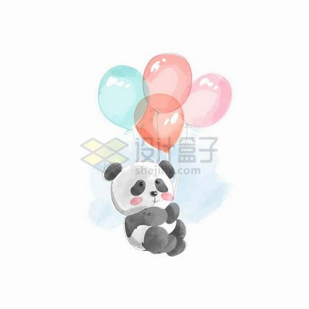 彩绘风格卡通熊猫拿着彩色气球png图片免抠矢量素材