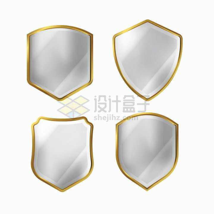 4款金色金属边框的水晶防护盾牌png图片素材