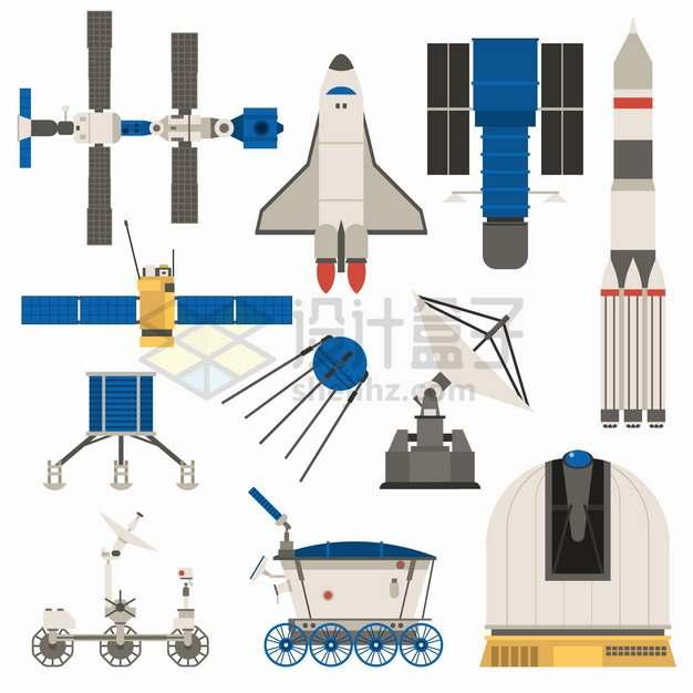 国际空间站航天飞机侦察卫星运载火箭火星探测车等扁平化太空探索png图片素材