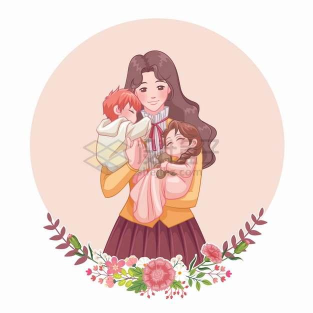 妈妈抱着儿子和女儿亲子关系母亲节卡通插画png图片素材