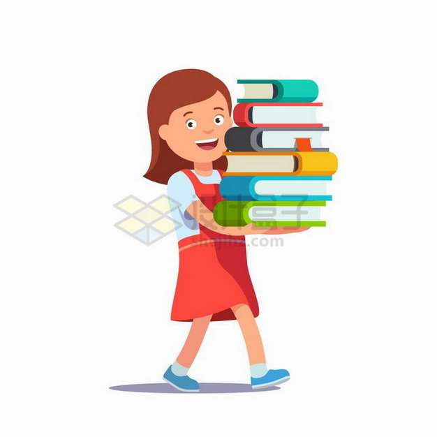 卡通老师捧着一堆书本书籍png图片免抠矢量素材