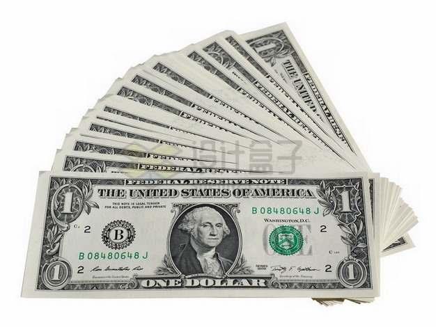 一沓散开的1美元钞票纸币png图片素材