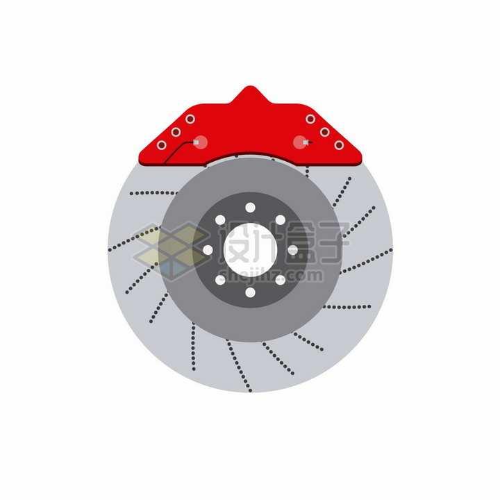 红色卡钳的汽车刹车片png图片素材