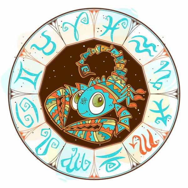 复古十二星座符号花纹的天蝎座png图片免抠矢量素材