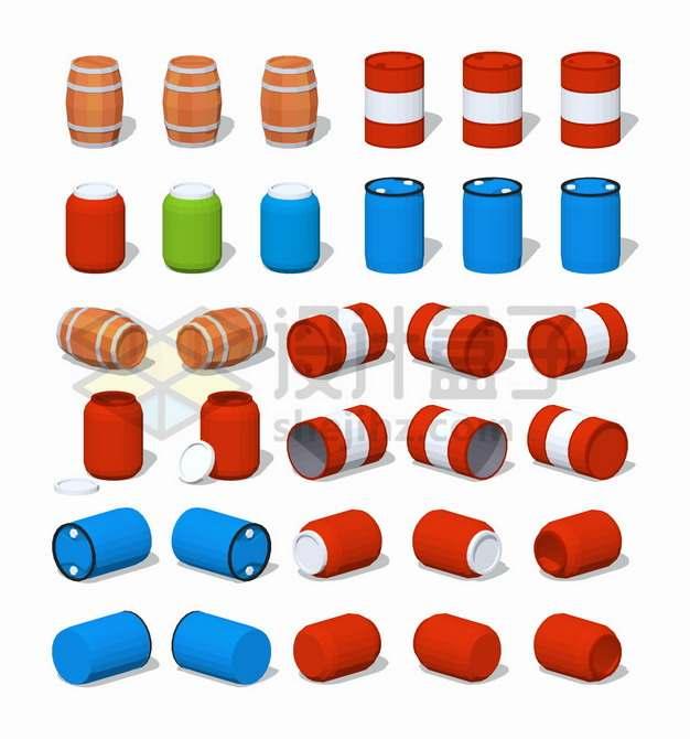 32款木桶汽油桶化工塑料桶png图片素材