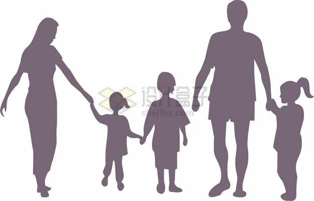 牵着孩子手的一家五口三孩政策家庭人物剪影国际家庭日png图片素材