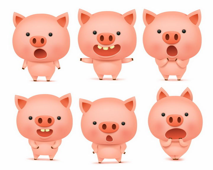 6款做出各种表情的可爱卡通小猪png图片免抠矢量素材 生物自然-第1张