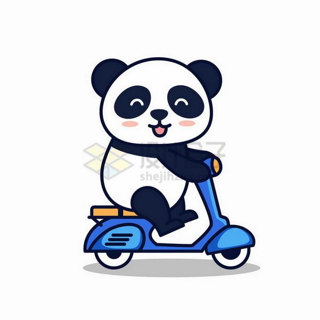 正在骑电动车的卡通熊猫png图片免抠矢量素材 生物自然-第1张