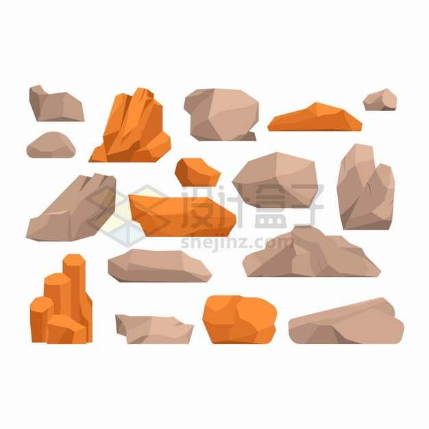 卡通石灰石花岗岩红色石头石块等png图片素材