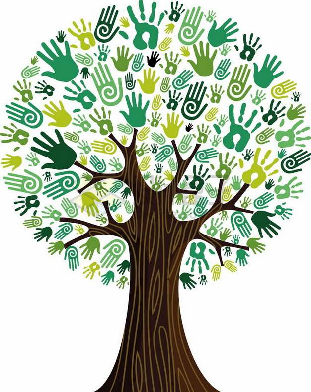 绿色手掌印做叶子组成的抽象大树png图片素材