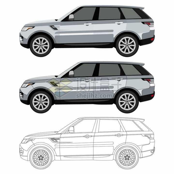 银灰色SUV汽车侧视图草图png图片素材