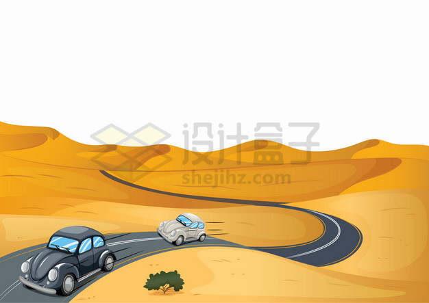 黄沙漫漫的卡通沙漠中的公路和汽车风景插画png图片素材