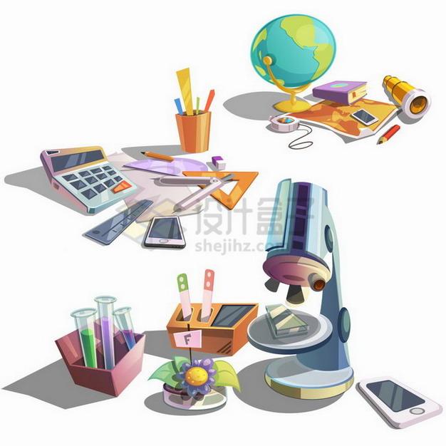 卡通地球仪望远镜计算器三角尺显微镜等学生教学用具png图片免抠矢量素材 教育文化-第1张