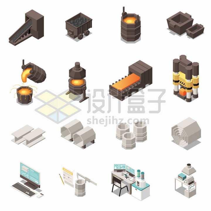 从矿石到高炉冶金铁水到制造成各种工具炼钢厂生产流程png图片素材