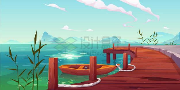平静的海湾大海和木头码头小木船风景漫画插画png图片素材