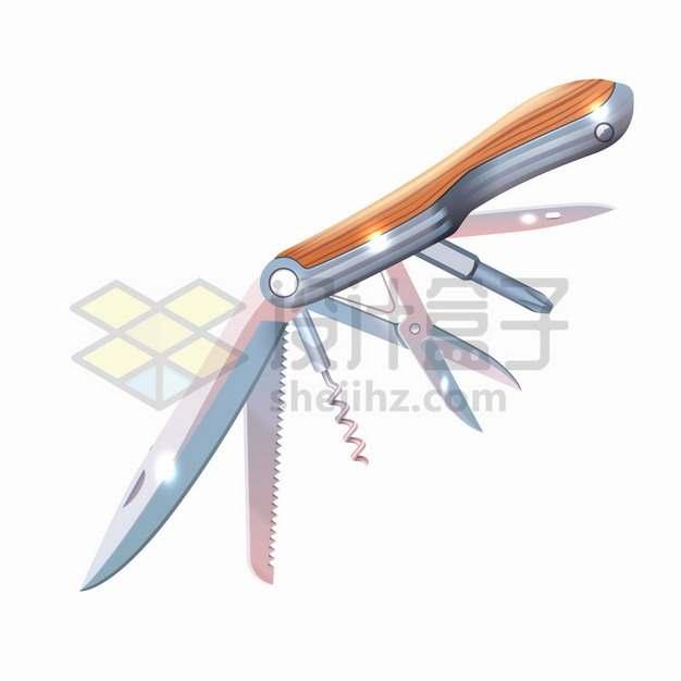 木柄的瑞士军刀多功能户外折叠刀png图片素材