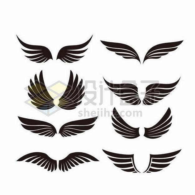 8款黑色翅膀图案3234656png图片素材 装饰素材-第1张