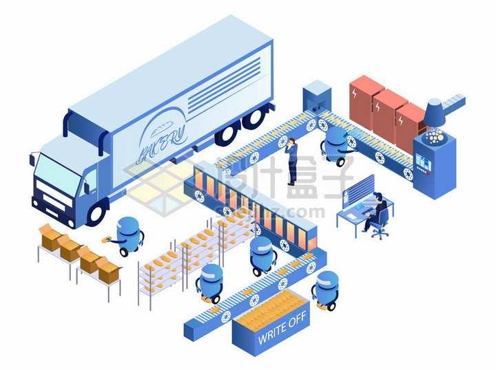 工厂生产流水线和卡车png图片素材