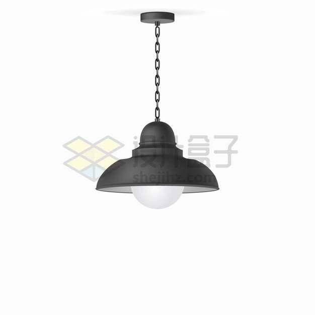 一盏链条电线的黑色吊灯电灯png图片素材