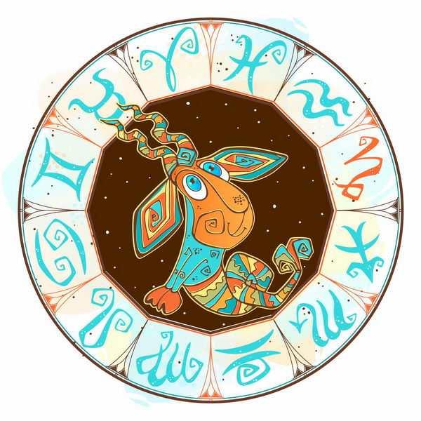 复古十二星座符号花纹的摩羯座png图片免抠矢量素材