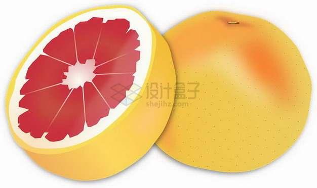 手绘切开的红心柚子坪山柚png图片素材