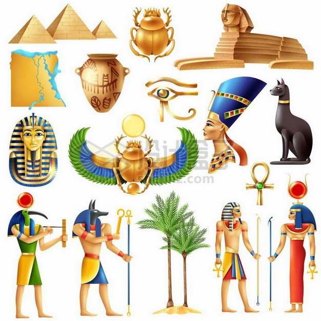 金字塔狮身人面像狗头神阿努比斯等古埃及元素png图片免抠矢量素材