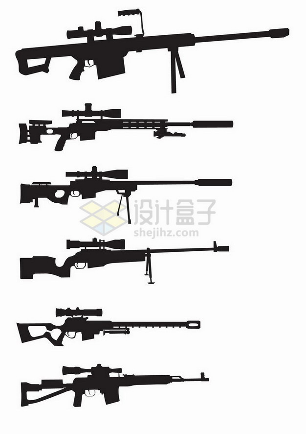 6款狙击枪侧视图剪影png图片免抠矢量素材 军事科幻-第1张