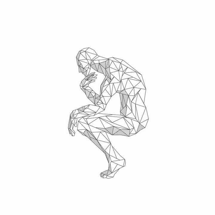 线条三角形组成的思考者雕塑png图片免抠矢量素材