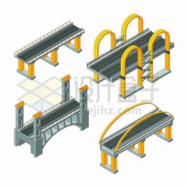 4种风格的2.5D公路大桥桥梁png图片素材