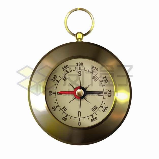 金属光泽复古风格指南针黄铜罗盘png图片素材