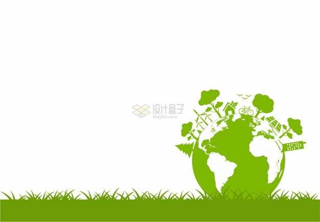绿草地上的绿色地球和树木世界地球日png图片素材