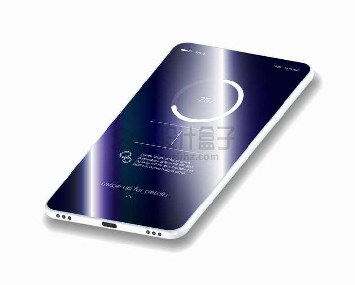3D风格智能手机金属光泽png图片素材