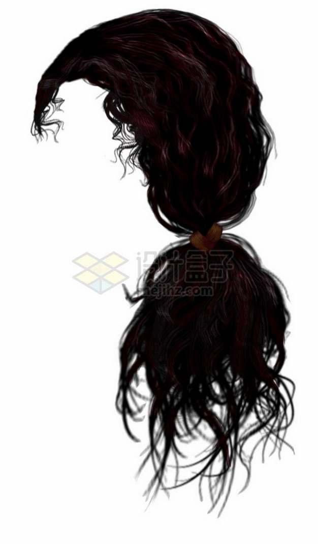 扎辫子的女性卷发造型发型png免抠图片素材